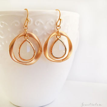 Gold Hoop Earrings, Dangling White Glass Stone, Wedding, Bridal Jewelry, Birthstone Jewelry, Circle, Loop, Gold Filled, Bridesmaids Gift