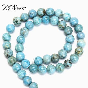 "KiWarm 15"" 8mm Natural Stone Genuine Hemimorphite Gemstone Beads For DIY Jewelry Bracelets Making Strand Gemstone Crafts"