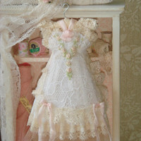 OOAK Dollhouse lace embroidered dress on hang. 1:12 Dollhouse miniature ladies clothing-dresses.