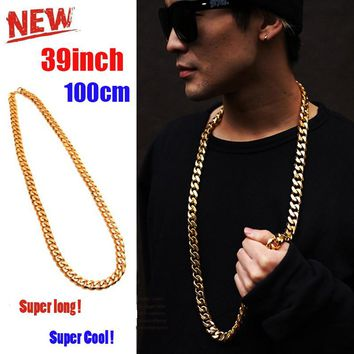 100CM Long Miami Cuban Link Chain Men's Necklace With 12MM 10MM 8MM Wide Men Gold Chain Collar Gold Filled Hip Hop Jewelry Punk