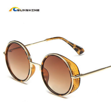 Luxury Metal Sunglasses women Round Sunglass Steampunk Mirror Glasses Vintage Retro Outdoor Lentes Oculos of Female Sun 2016