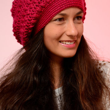 Fuchsia merino wool beanie hat, winter beanie hat, merino wool fall hat, winter 2016, SexyCrochet design, crochet beanie hat, women hats.
