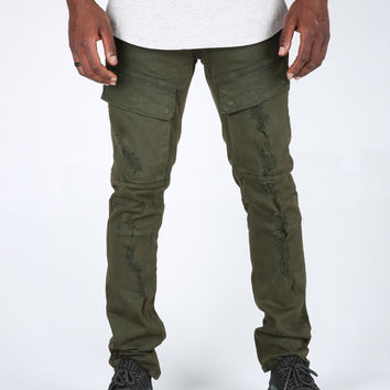 The Miller Destroyed Military Pants in Olive