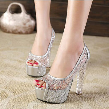 Platform Gold Rhinestone Wedding Ladies Shoes With Heels Extreme High Glass Slipper Lace Bridal Cutout Transparent Heel Sexy