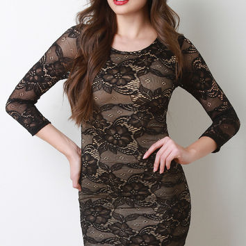 Floral Lace Long Sleeve Bodycon Mini Dress