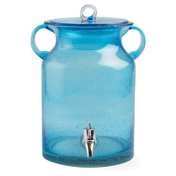 Bubble-Glass Beverage Dispenser, Aqua, Beverage Dispensers