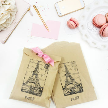 Paris Favor Bags with Ribbon - Hand Stamped - Kraft Merchandise Bags - Set of 20