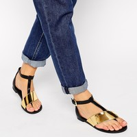 ASOS FASHTAG Toe Post Metal Strap Sandals