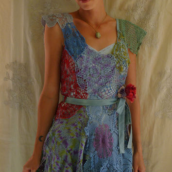 Painted Lady Fairy Dress Set... Size Medium... pixie whimsical alternative bridesmaid crochet eco friendly free people vintage inspired