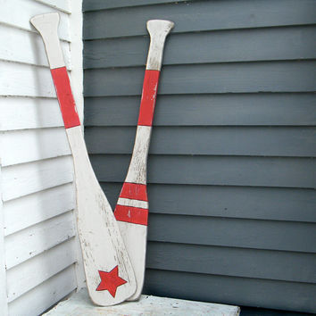 Oar Star Stripes Nautical Wall Decor  Boat Oars Beach House Lake House Decor
