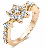 Gold Color Zircon Engagement Ring For Women (6,7)