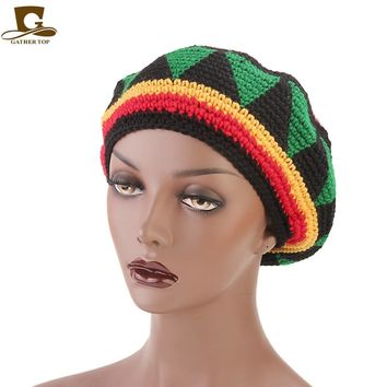 New Casual Men Women Rasta Hat Fancy Dress Party Hippie Handmade Beret Wig Jamaican Bob Marley Knit Reggae Hat