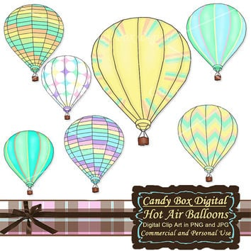 Hot Air Balloon Clipart, Hot Air Balloon Clipart, Summer Clipart, Summer Clip Art - Commercial Use OK