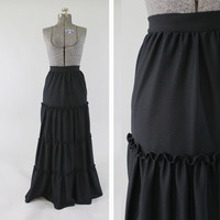 Vintage 1970s Black Maxi Skirt - Sz XS Small 1960s Full Length High Waist Fashion Clothing / Scalloped Tiers