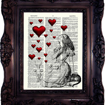 VALENTINE'S Wall ART Alice in Wonderland Valentine's day Gift Art Print Book Page Alice in Wonderland Decoration Alice in wonderland C:582