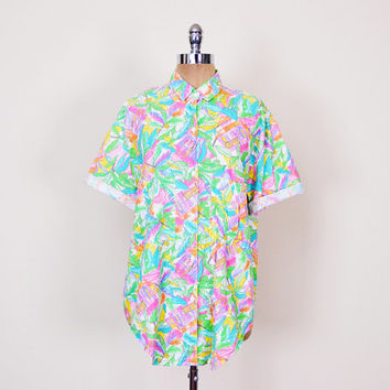 Tropical Print Shirt Novelty Print Hawaii Shirt Neon Shirt 80s Oversize Shirt 80s Shirt 90s Shirt New Wave Shirt Men L Women S M L XL XXL