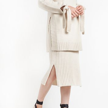Ivory Ribbed Knit Knee Skirt