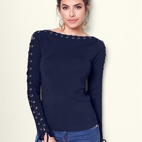 VENUS   Lace Up Boat Neck Sweater in Navy