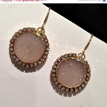 SALE 60 OFF Druzy Earrings Sand Beige Druzy Quartz Earrings 14kt GF Beach Wedding Swarovski Crystal Diamond Look