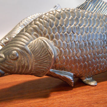 Mid Century Italian Modello Depositato Fish Sculpture Napkin Letter Holder Silverplate