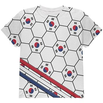 World Cup South Korea Soccer Ball All Over Youth T Shirt