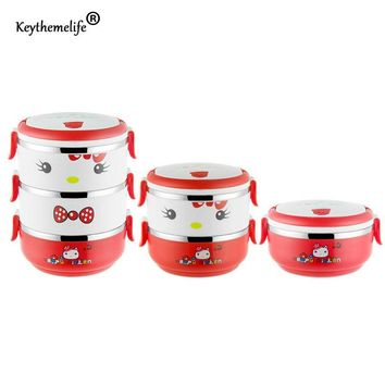 Multilayer Kids Lunch Boxs Hello kitty Food Thermo containers Cartoon Thermal Bento Lunchbox Stainless Steel E1