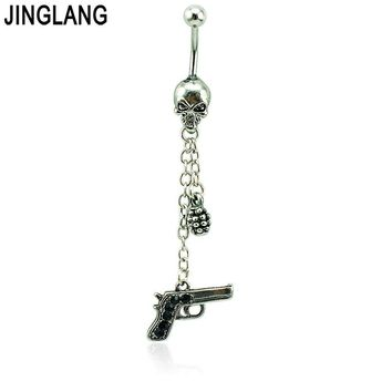 Body Piercing Jewelry Belly Button Rings 316L Stainless Steel Skull Barbells Dangle Chain Gun Navel Rings Jewelry