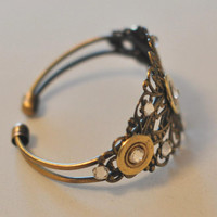 Remington Triple 410 Gauge   Shotgun Shell Bullet  Bracelet Filigree Cuff  9 Swarovski Crystals Custom Made