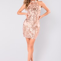 Katlyn Sequin Dress - Rosegold