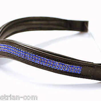V Shape Blue Crystal Padded Leather Browband for Full Size Horse 16''