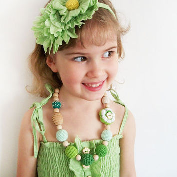 Asymmetric Spring floral Necklace/ shades of green herbal mint lime flower Nursing jewelry /Crochet Necklace / teether / Eco-friendly toy