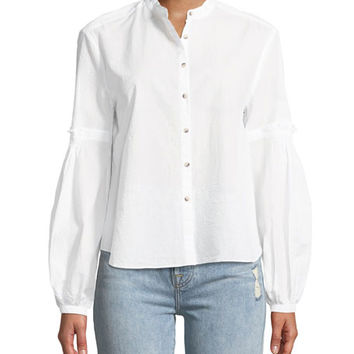 MiH Esther Seersucker Balloon-Sleeve Shirt
