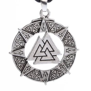 Slavic Norway Valknut Pagoda Amulet Pendant Men Necklace Jewelry Warrior Symbol