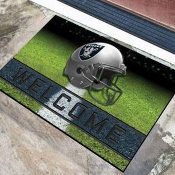 Oakland Raiders Door Mat 18x30 Welcome Crumb Rubber