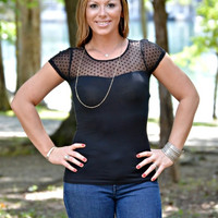 Black Sweetheart Mesh Top