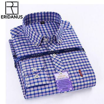 New Oxford Men Shirts Plaid Long Sleeve Button Turn-Down Collar Slim Fit Mens Dress Business And Casual Shirt