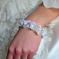 Ivory Pearl Bridesmaid Bracelet White Gold Lace Bracelet with Clear Czech Crystals Bracelet Bridesmaids - Handmade - Free Matching Earrings