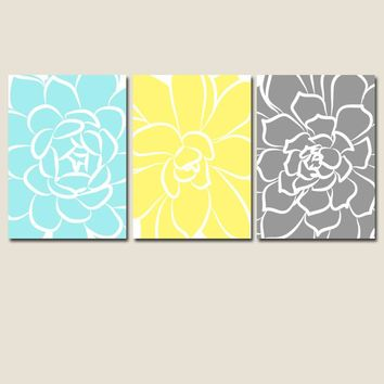 BATHROOM DECOR, Yellow Gray Aqua, Flower CANVAS or Prints, Floral Bedroom Decor, Large Flowers, Succulent Flowers, Set of 3 Home Decor