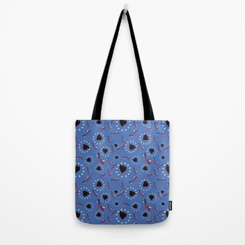 Petite butterflies blue small Tote Bag by Vicky Theologidou
