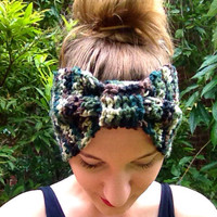 Cinched Crochet Headband, Camouflage, Ear Warmer, Extra Wide