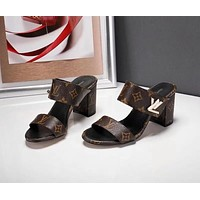 LV 2019 new women's high-heeled slippers coffee