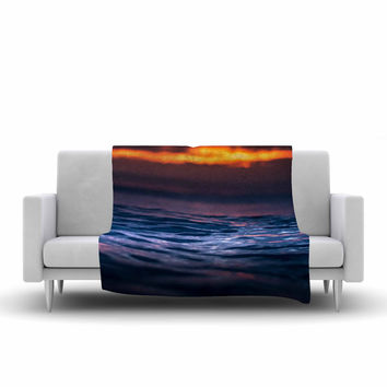 "Colin Pierce ""Night Fire"" Blue Orange Photography Fleece Throw Blanket"