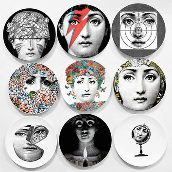 European MILAN Style Gorgeous Rare Fornasetti Plates Lina Lightbulb Face Piero Fornasetti Wall Hanging Decorative 8 Inch Dish