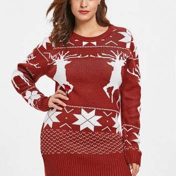 Wipalo Women Fashion Plus Size Reindeer Ugly Christmas Sweater Ladies Casual O Neck Long Sleeve Long Pullover Sweater Winter Top