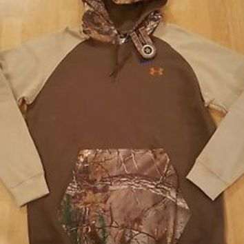 NWT NEW mens XL X-Large UNDER ARMOUR hoodie camo loose coldgear REAL TREE top