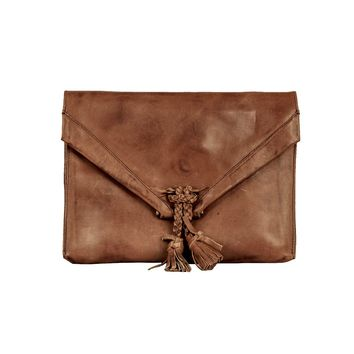 Savannah Leather Envelope Clutch and Crossbody Purse - Cognac