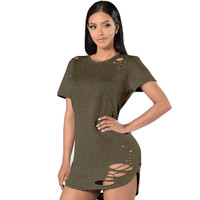 Summer T Shirt Dress 2017 Women Sexy Cut Out Bodycon Bandage Party Dresses Casual T-Shirt Mini Dress Vestidos De Festa