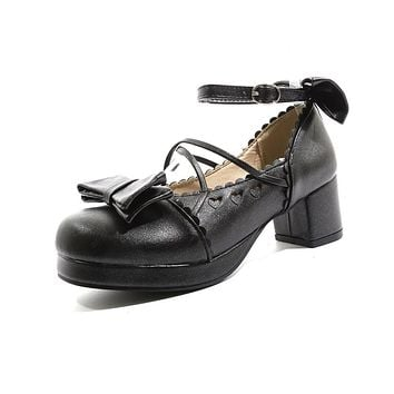Sweet Buckle Bow Women Mid Heeled Thick Heel Pumps Shoes
