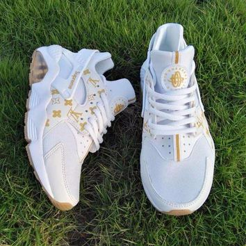 LMFON Best Online Sale LV x Supreme x Nike Air Huarache White Luminous Sport Running Shoes