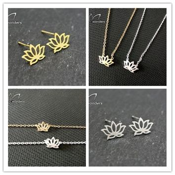 Fine Jewelry Set Silver Plated Stainless Steel Yoga Jewellery Dainty Lotus Flowers Earring Necklace Bracelet For  S04